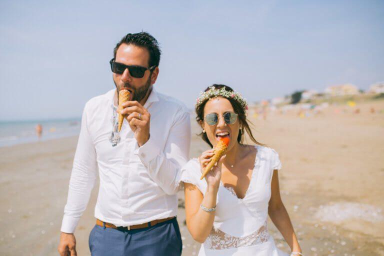 Photographe de mariage Nantes, séance photo de mariés à pornic
